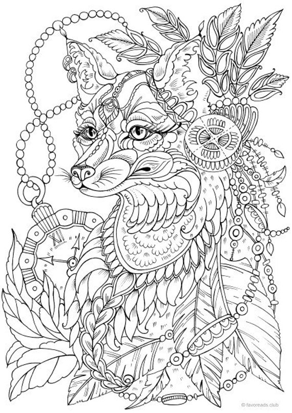 Fantasy Fox - Printable Adult Coloring Page from Favoreads (Coloring book  pages for adults and kids, Coloring sheets, Coloring designs)