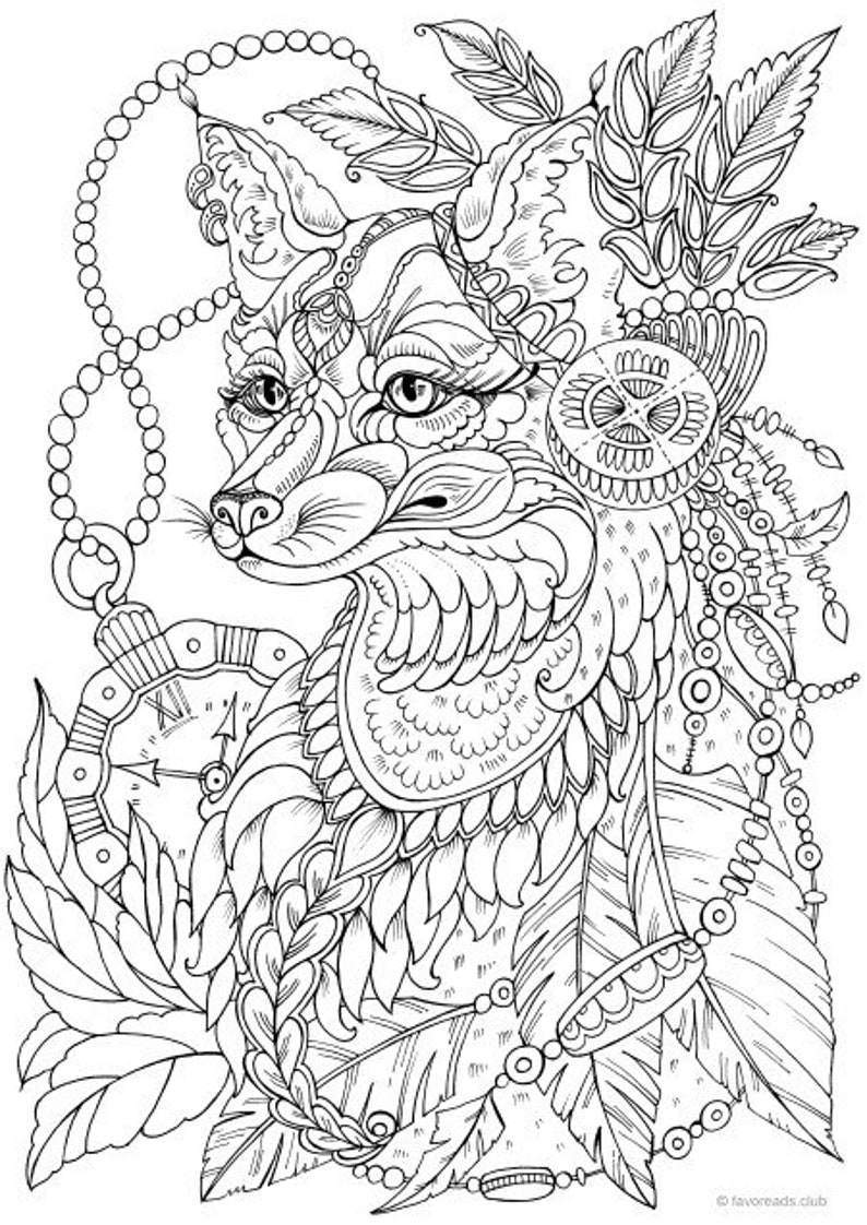 Fantasy Fox Printable Adult Coloring Page From Favoreads Coloring Book Pages For Adults And Kids Coloring Sheets Coloring Designs
