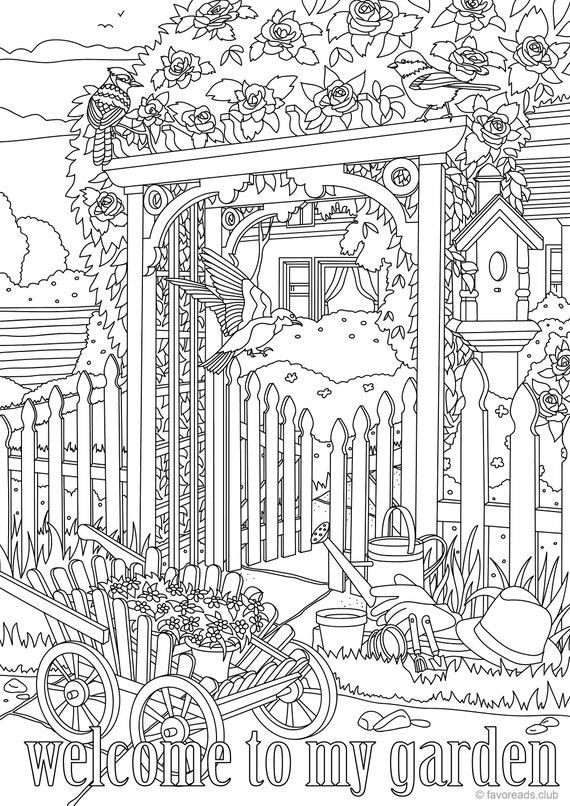 Welcome to My Garden Printable Adult Coloring Page from | Etsy