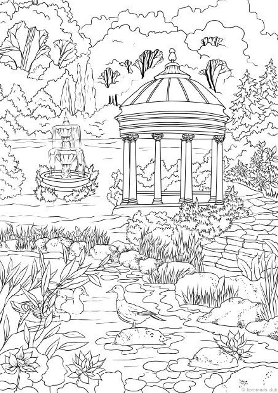 Elegant Garden Printable Adult Coloring Page From Favoreads Coloring Book Pages For Adults And Kids Coloring Sheets Coloring Designs
