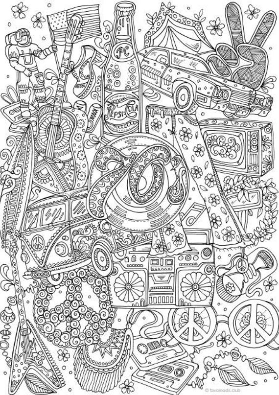 Groovy 70s Printable Adult Coloring Page From Favoreads