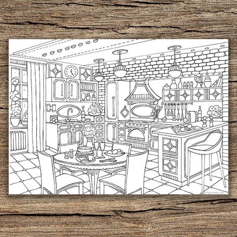 Modern Kitchen Printable Adult Coloring Page From Favoreads Etsyrhetsy: Coloring Pages For Adults Modern Art At Baymontmadison.com