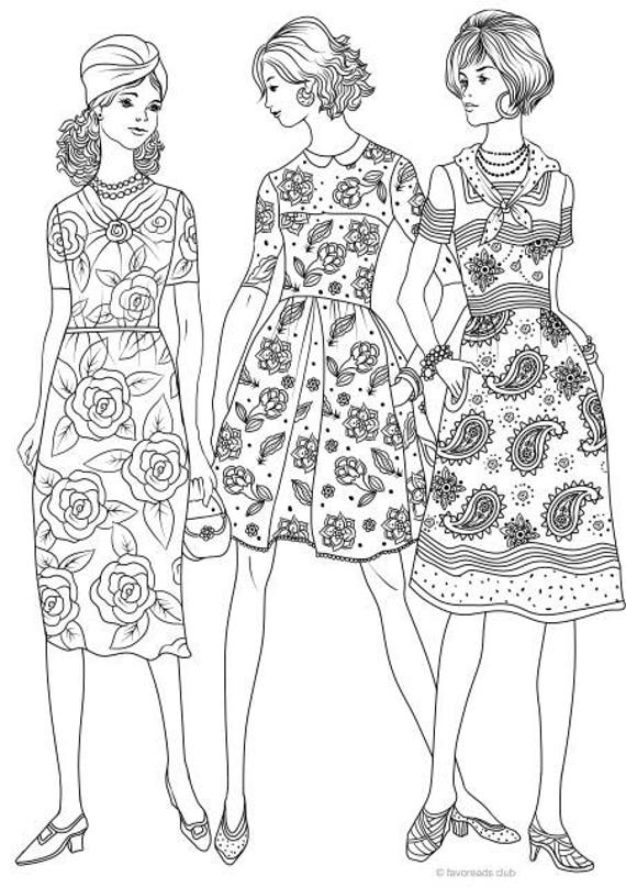 The 50s Fashion Printable Adult Coloring Page from ...