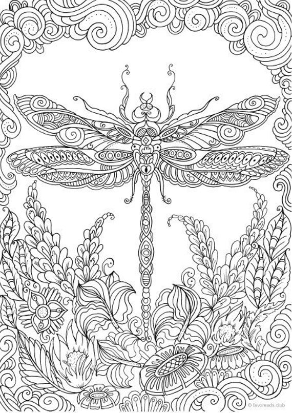 Dragonfly Printable Adult Coloring