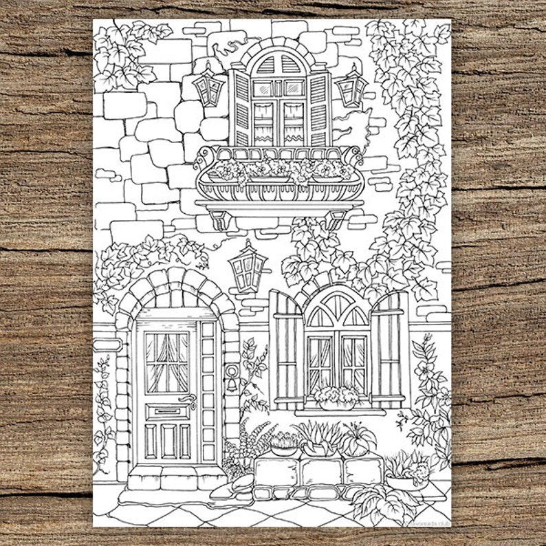 Fancy Exterior Printable Adult Coloring Page From Favoreads Etsy