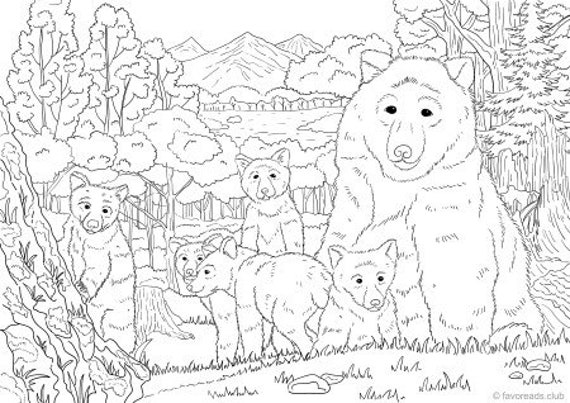 Bears - Printable Adult Coloring Page from Favoreads (Coloring book pages  for adults and kids, Coloring sheets, Colouring designs)