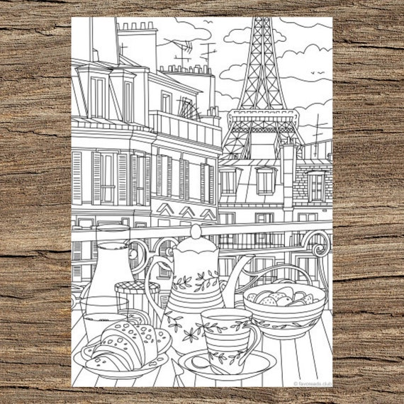 Paris Printable Adult Coloring Page From Favoreads Coloring Etsy
