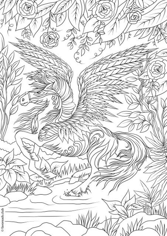 Pegasus Printable Adult Coloring Page from Favoreads   Etsy