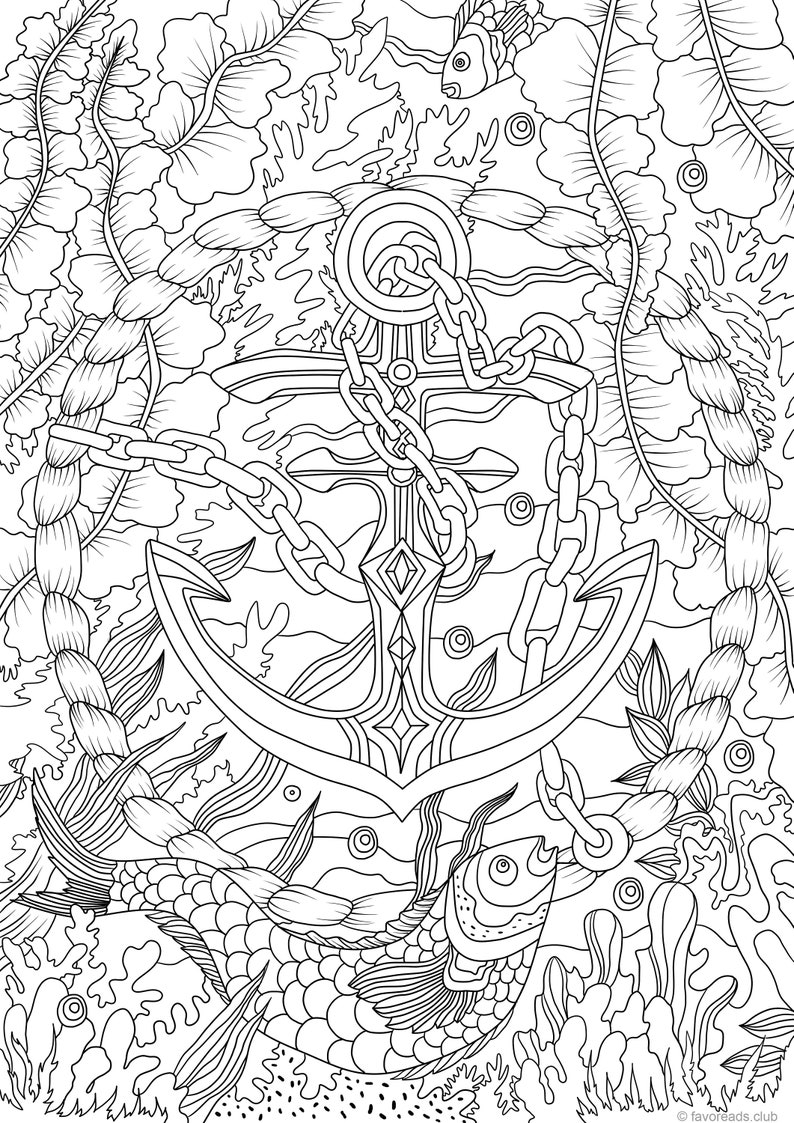 Anchor - Printable Adult Coloring Page from Favoreads (Coloring book pages for adults and kids, Coloring sheets, Coloring designs)