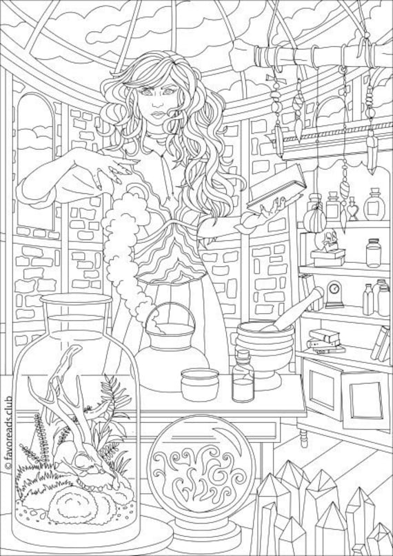 Witch Printable Adult Coloring Page from Favoreads ...