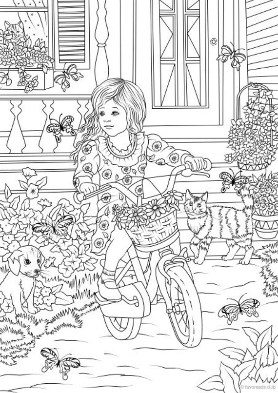 Country Girl Printable Adult Coloring