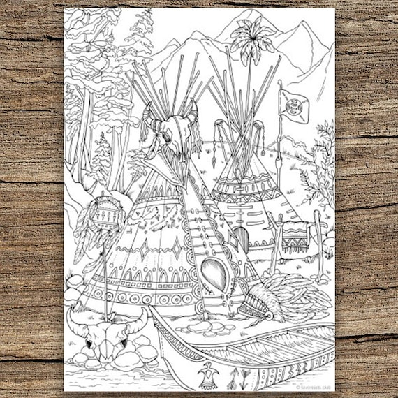 Native Americans Printable Adult Coloring Page From Etsy