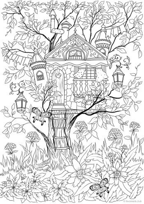 Treehouse - Printable Adult Coloring Page from Favoreads Coloring book pages for adults and kids Coloring sheets Coloring designs