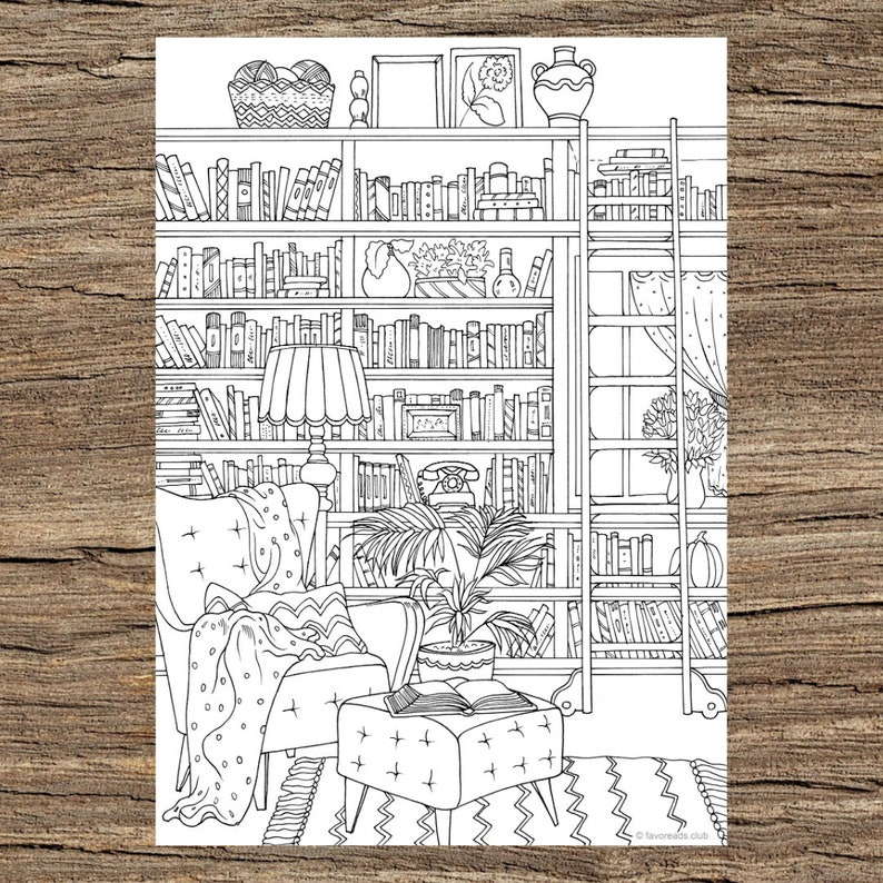 Library Printable Adult Coloring Page From Favoreads Etsy