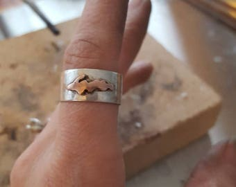 Sterling Silver and Copper Michigan UP Upper Peninsula Ring Size 7.5