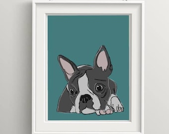 Boston Terrier want¦¦¦¦¦ Print. Art. Illustration. Frame