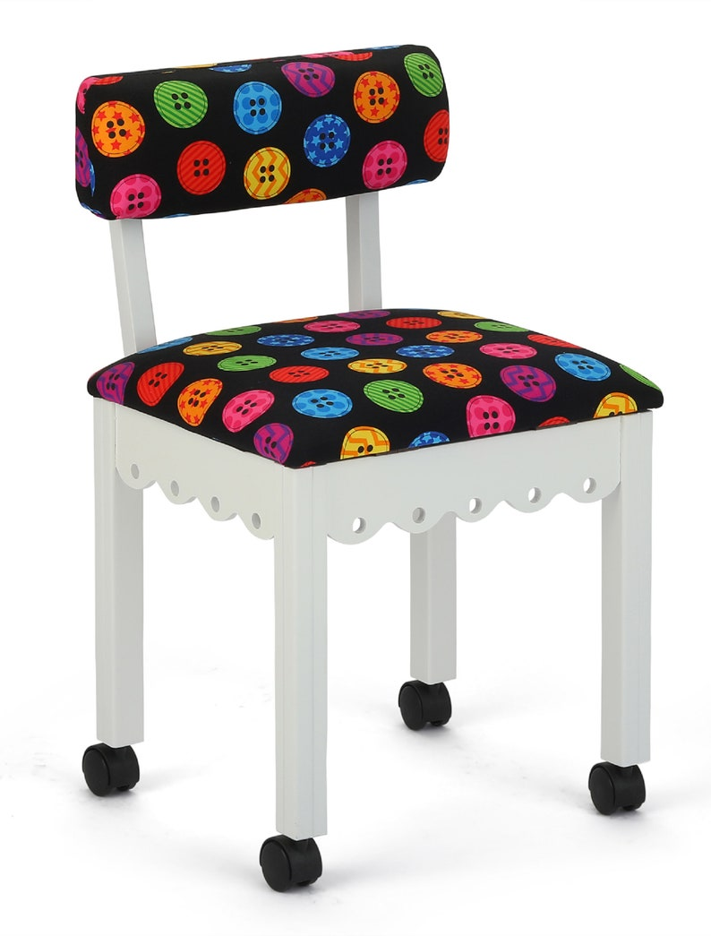 Arrow Wood Sewing and Craft Chair with Gingerbread Design Girly Print Button Pattern White Chair Craft Chair