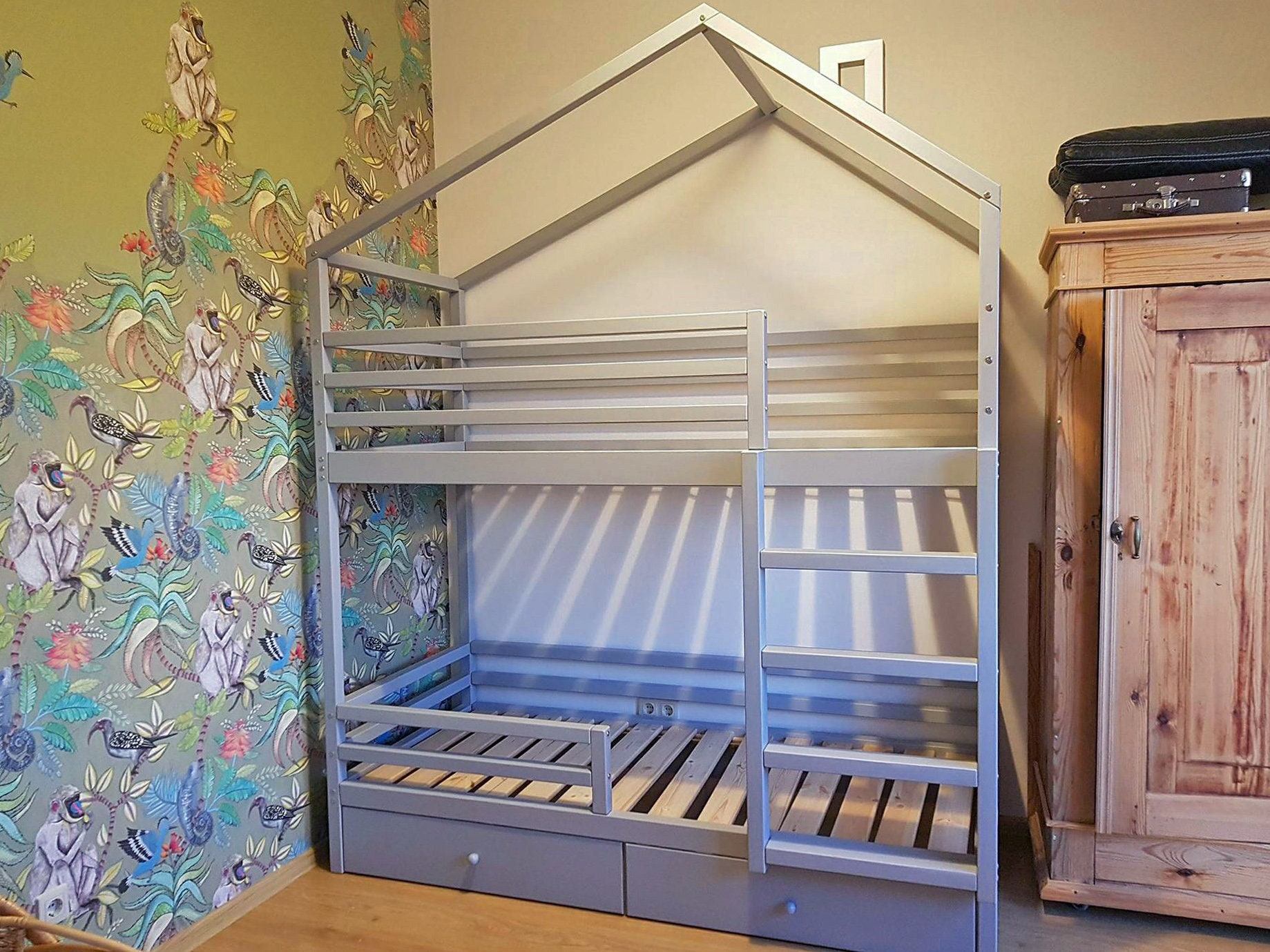 Bunk Double Loft Bed Crib Twin Full With Drawers Etsy