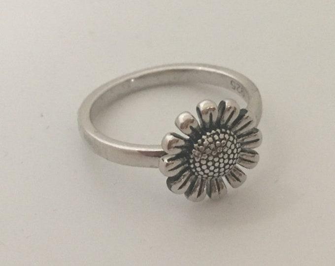Sun Flower Sterling Silver Ring