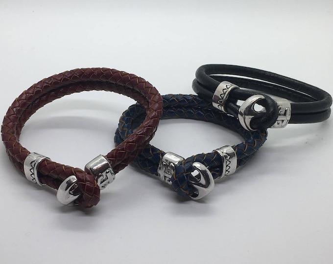 Men's leather anchor bracelets