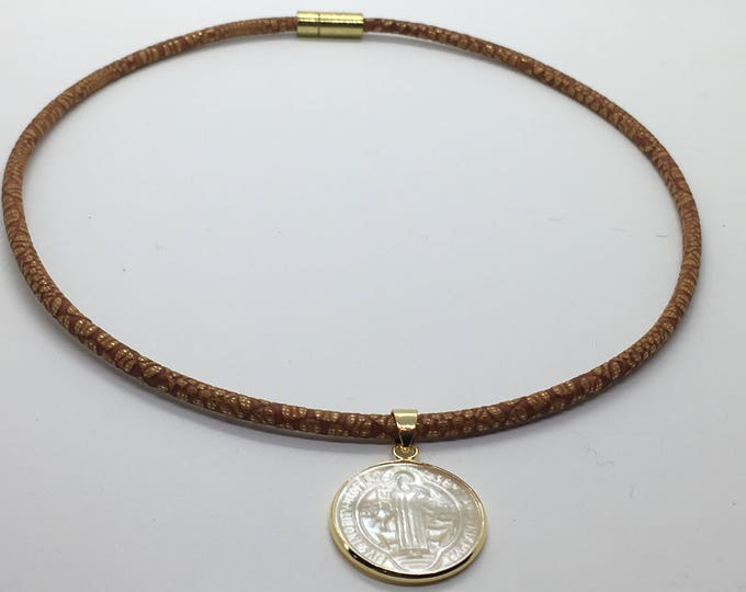 Leather choker with Saint Benedict Mother of Pearl  medallion