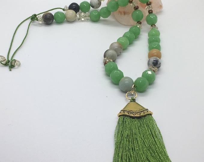 Beaded Green Tassel necklace handmade