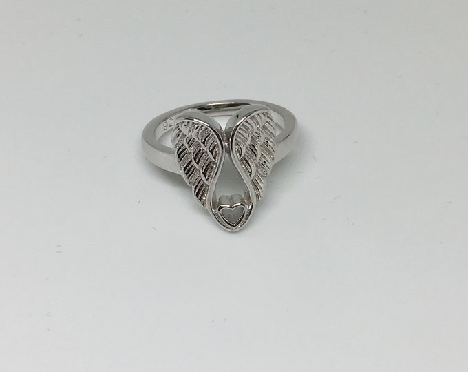Angel Ring with Heart Sterling Silver