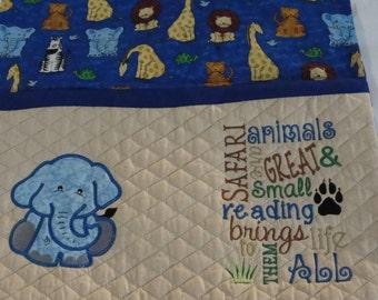 Safari Animal Reading Pillow, Zoo Animal Pocket Pillow, Travel Pillow, Elephant Pillow, Bed Pillow, Children's Storybook Pillow,