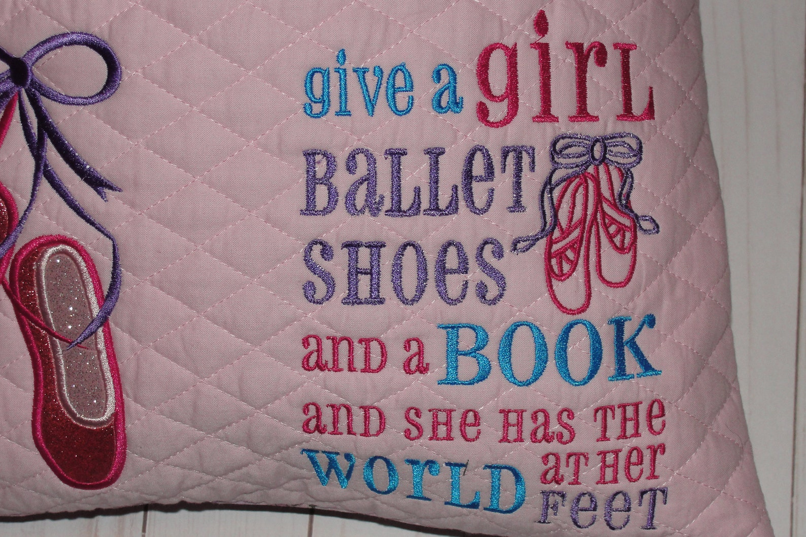 sparkly ballet shoe ballerina reading pillow, children's pocket pillow, birthday pillow, dancer room decor