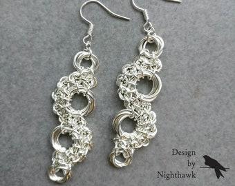 Geometric Drop Earrings | Silverplated Chainmaille | Mobius Flower Stepping Stones | Hook Earrings