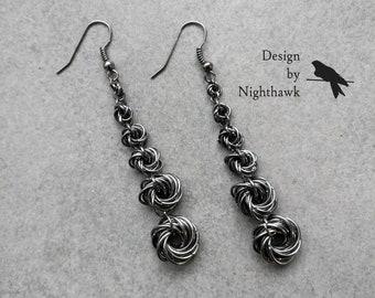 Gunmetal Gray Mobius Flower Drop Earrings | Chainmaille | Graduated Earrings