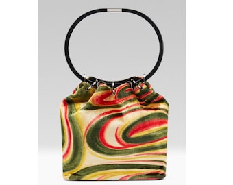 ec29c0eedce2 FW 1999 Gucci by Tom Ford Runway Psychedelic Swirl Silk Velvet Hoop Bucket  Bag