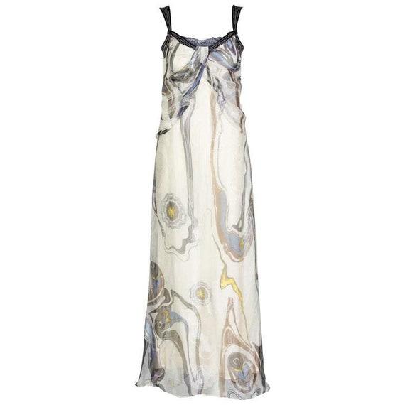 Nina Ricci Sleeveless Swirl Print Silk Maxi Dress