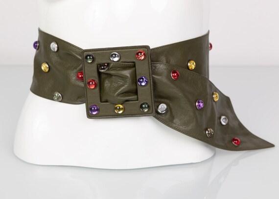 Saint Laurent Olive Green Wide Leather Jewel Belt