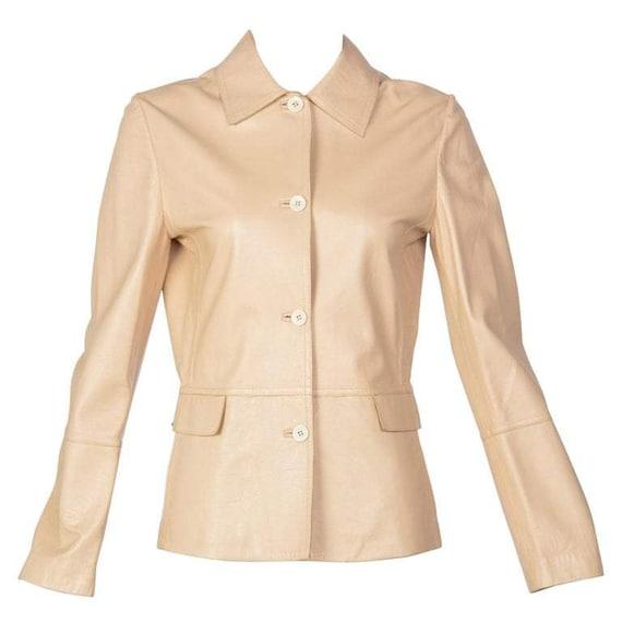 1990s Marella Tan Leather Jacket