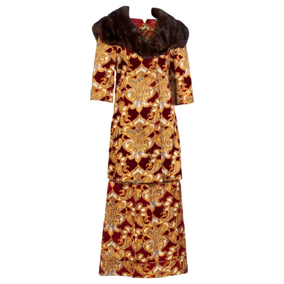 Galanos Couture Red Gold Velvet Fur Trimmed Coat &