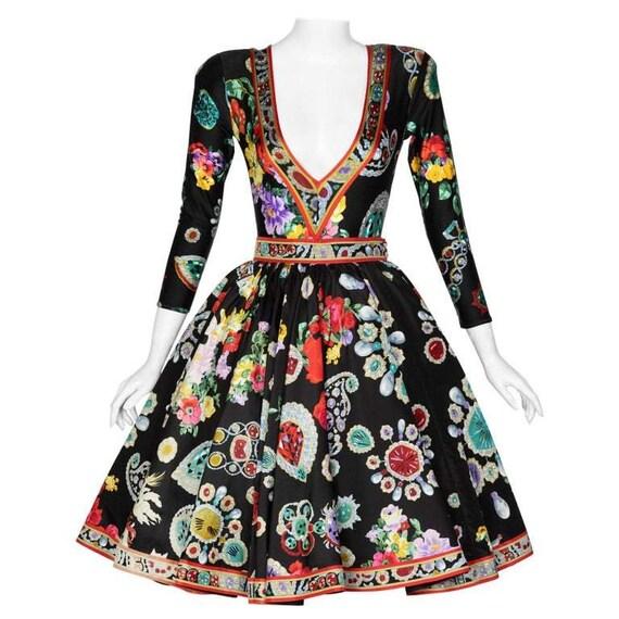 Vintage Leonard Paris Vibrant Jewel Print Silk Dre