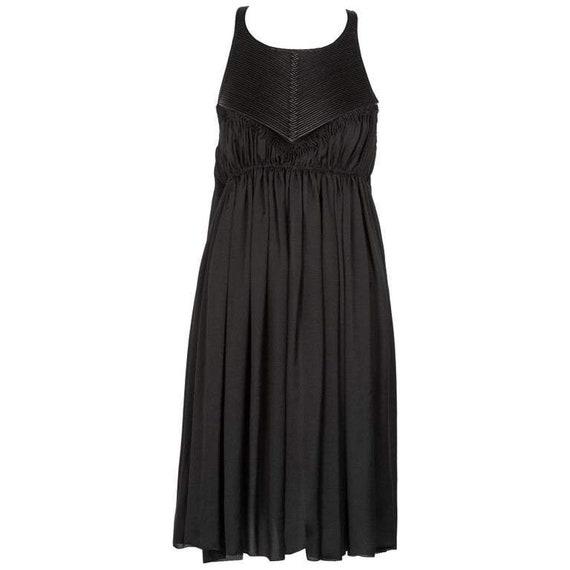 Bottega Veneta Black Leather Yoke Silk Dress, Runw