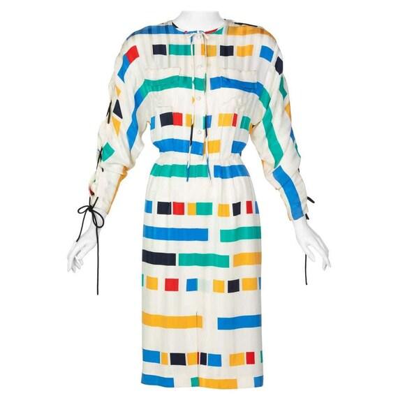 Ted Lapidus Ivory Color Block Silk Safari Dress, 1
