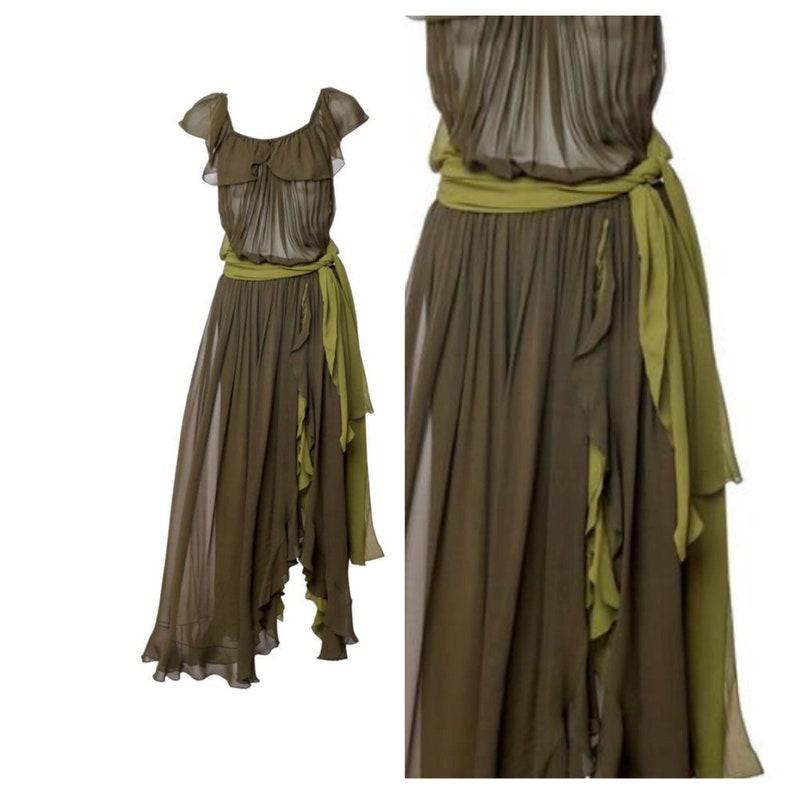 160f5438337 Vintage Yves Saint Laurent Green Silk Chiffon Ruffled Goddess