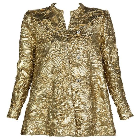 Pauline Trigère Gold Jewel Buttons Evening Jacket