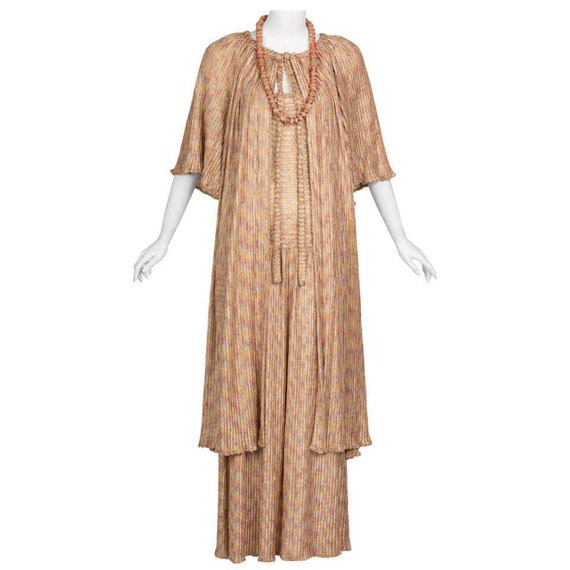 Missoni Pink Gold Knit Maxi Dress Cardigan Necklac