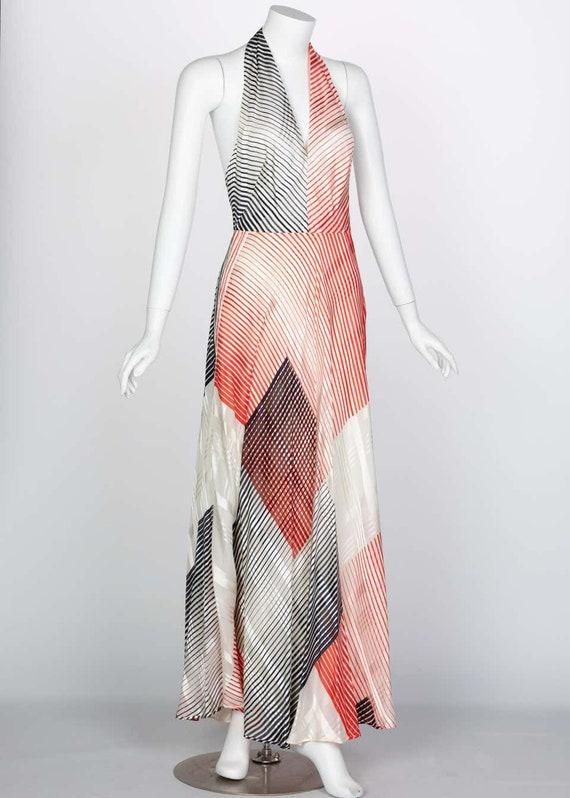 Vintage Red Navy Creme Striped Silk Halter Gown F… - image 4