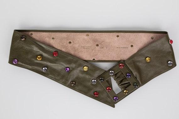 Saint Laurent Olive Green Wide Leather Jewel Belt… - image 5