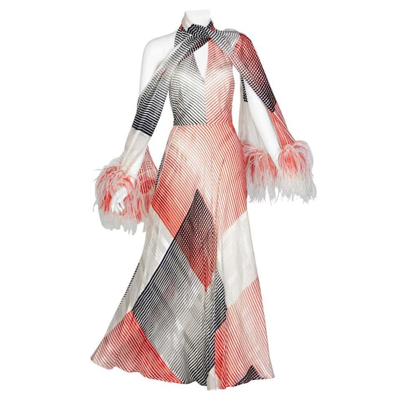 Vintage Red Navy Creme Striped Silk Halter Gown F… - image 1