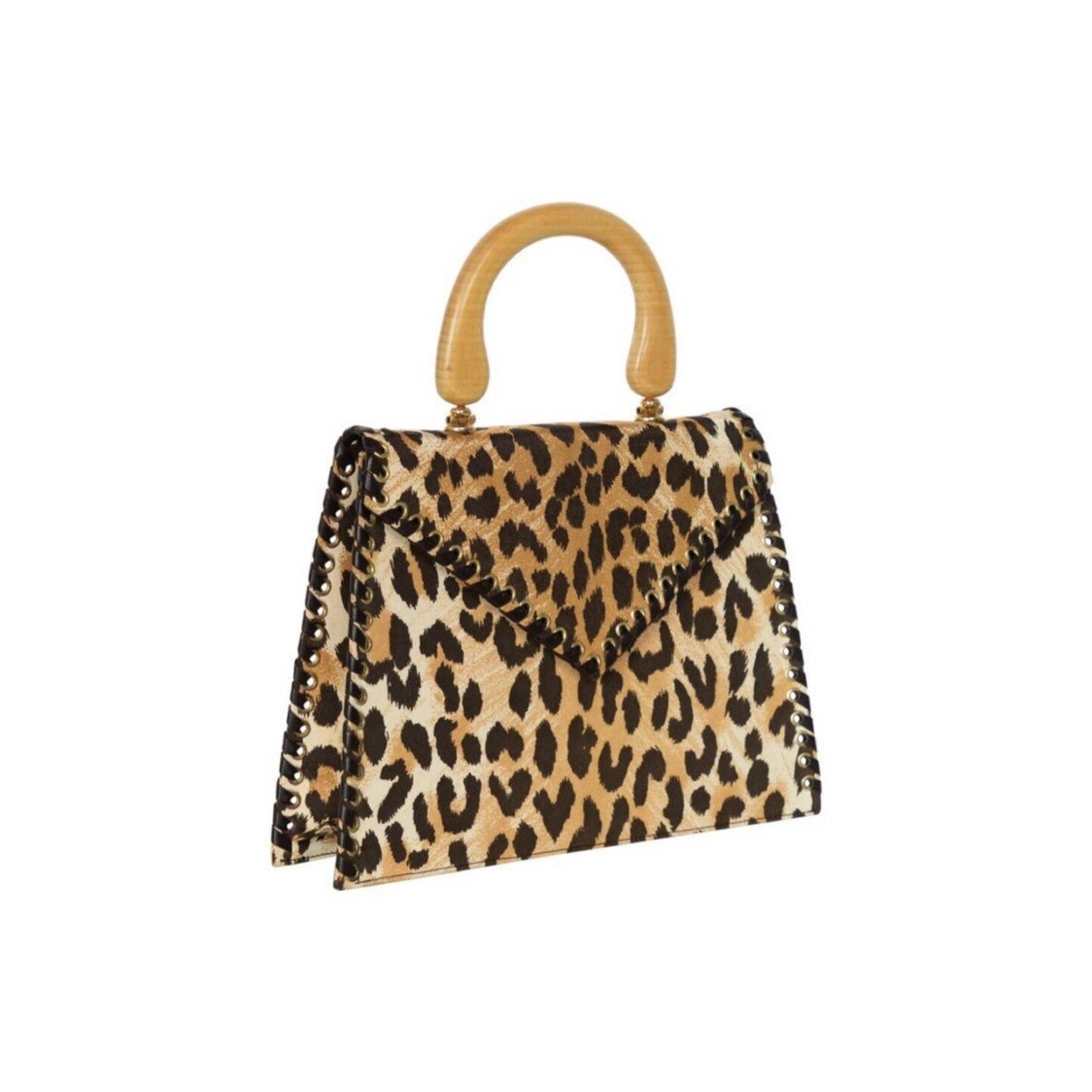 0afa05073cb3 Vintage Yves Saint Laurent Leopard Animal Print Canvas Wooden