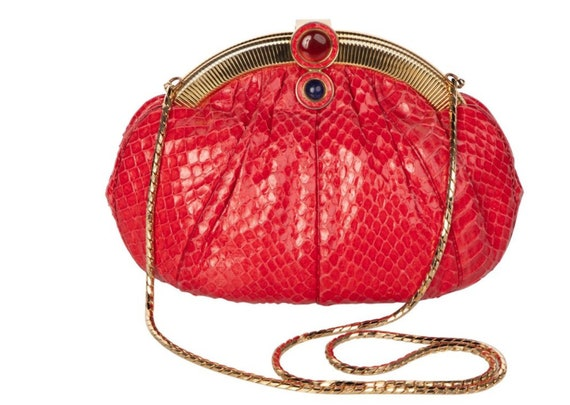 variety styles of 2019 superior materials arriving Vintage Judith Leiber Red Snake Skin Clutch Bag