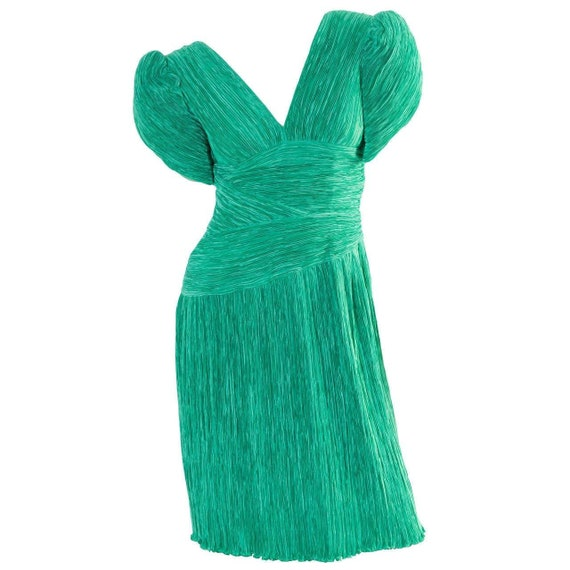1980s Mary McFadden Couture Green Pleated Sculpted