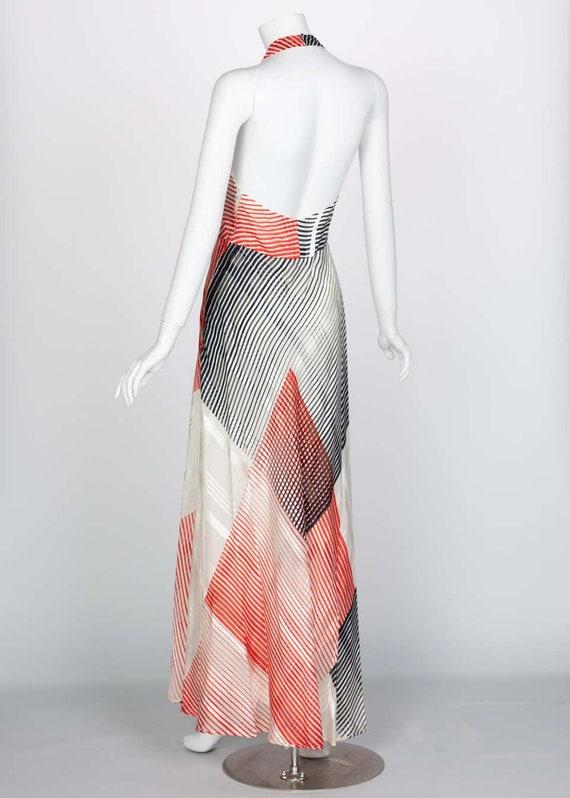 Vintage Red Navy Creme Striped Silk Halter Gown F… - image 6