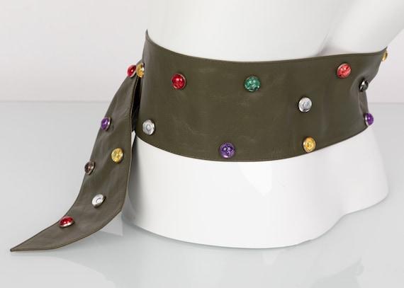 Saint Laurent Olive Green Wide Leather Jewel Belt… - image 3